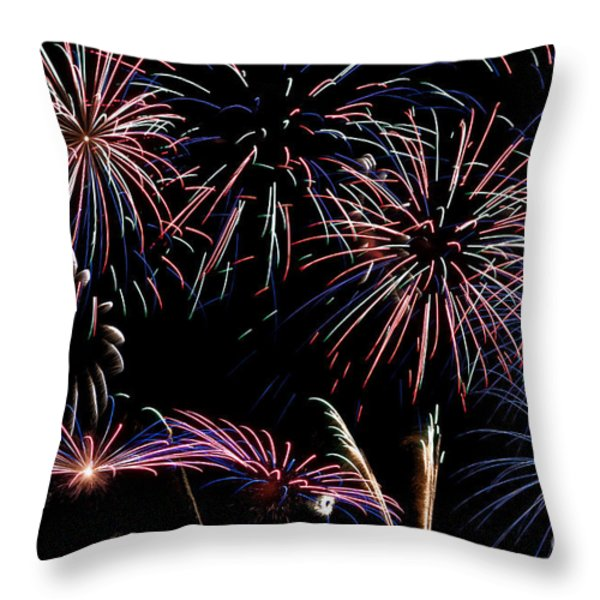 Fireworks Extravaganza 2 Throw Pillow by Steve Purnell