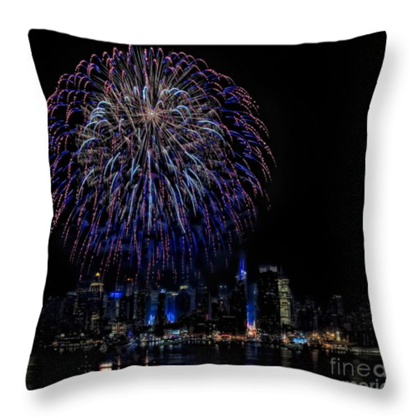Fireworks In New York City Throw Pillow by Susan Candelario