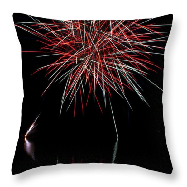 Fireworks Rockets Red Glare Throw Pillow by Christina Rollo