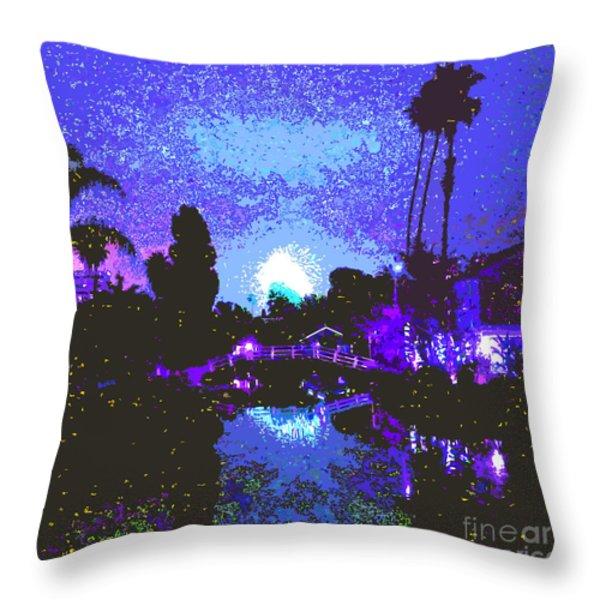 Fireworks Venice California Throw Pillow by Jerome Stumphauzer