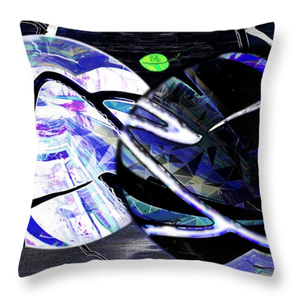 Firmament Cracked #1 Confusing Dark And Light Throw Pillow by Mathilde Vhargon
