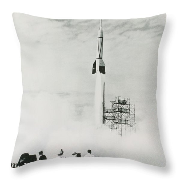 First Cape Canaveral Rocket Launch Throw Pillow by NASA Science Source