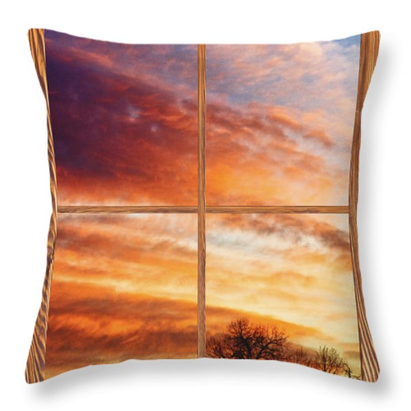 First Dawn Barn Wood Picture Window Frame View Throw Pillow by James BO  Insogna