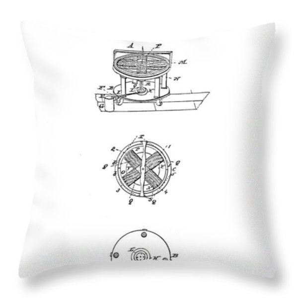 FIRST ELECTRIC MOTOR PATENT ART 1837 Throw Pillow by Daniel Hagerman