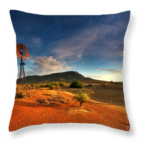 First Light On Wilpena Pound Throw Pillow by Bill  Robinson