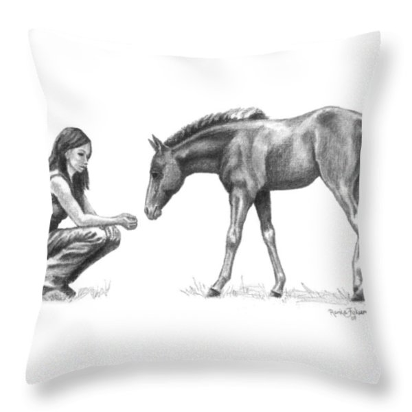 First Love Girl With Horse Foal Throw Pillow by Renee Forth-Fukumoto