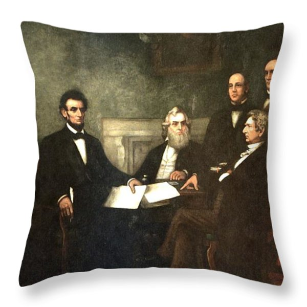 First Reading of the Emancipation Proclamation of President Lincoln Throw Pillow by Nomad Art And  Design