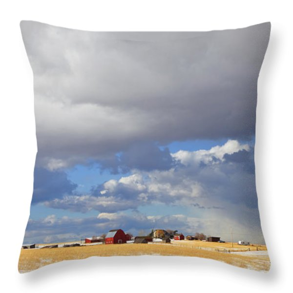 FIRST SNOW ON STORYBOOK FARM Throw Pillow by Theresa Tahara