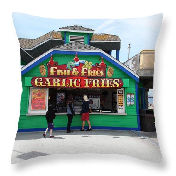 Fish And Fries At The Santa Cruz Beach Boardwalk California 5D23687 Throw Pillow by Wingsdomain Art and Photography
