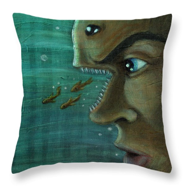 Fish Mind Throw Pillow by John Ashton Golden