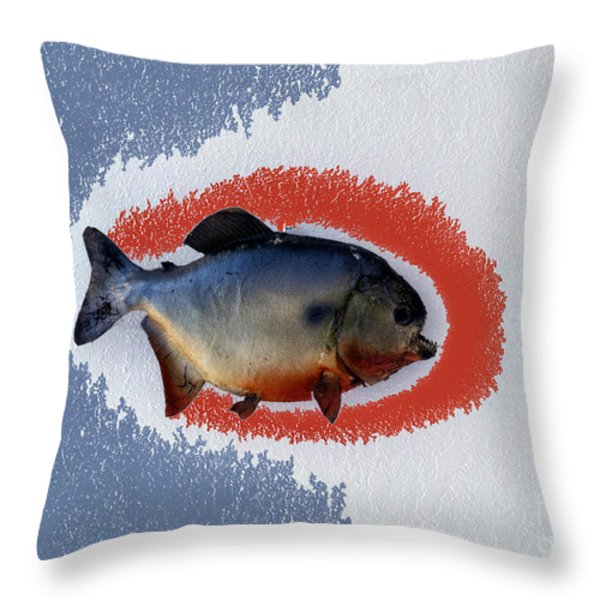 Fish Mount Set 12 B Throw Pillow by Thomas Woolworth