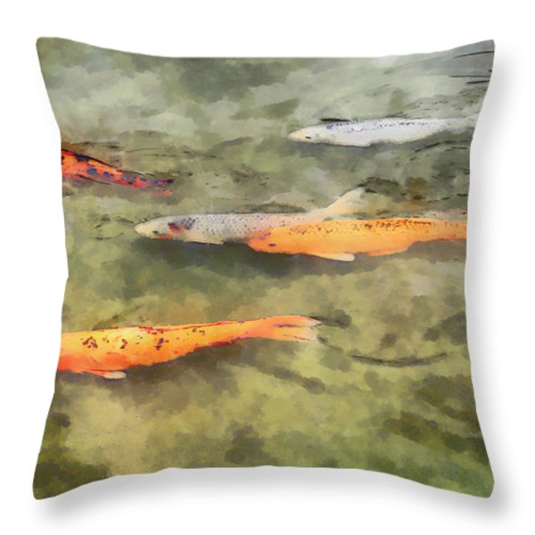 Fish - School of Koi Throw Pillow by Susan Savad