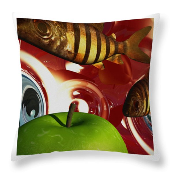 Fish Tripping Throw Pillow by Richard Rizzo
