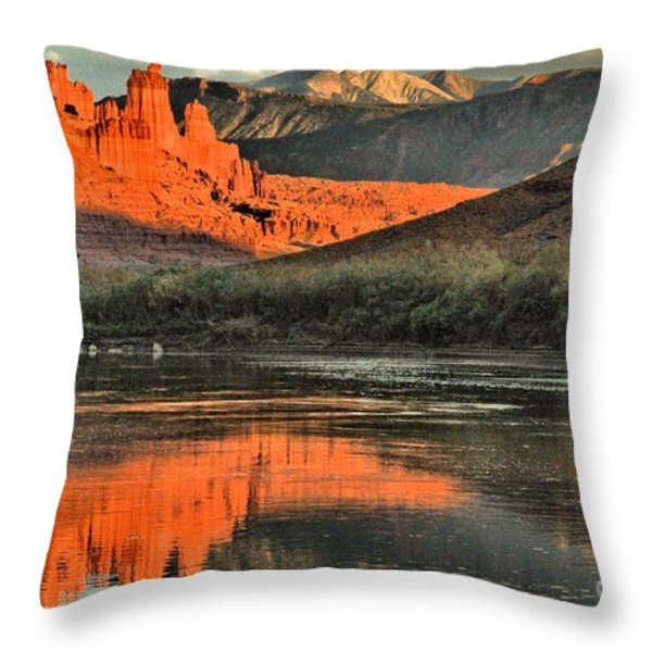 Fisher Towers In The Colorado Throw Pillow by Adam Jewell