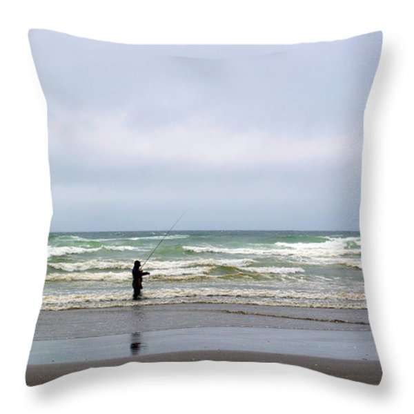 Fisherman Bracing The Weather Throw Pillow by Roger Reeves  and Terrie Heslop