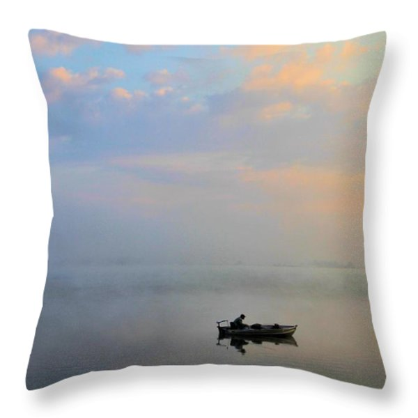 Fisherman's Solitude In Ohio Throw Pillow by Dan Sproul