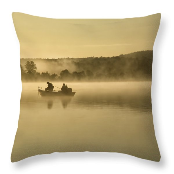 Fishermen Throw Pillow by Steven  Michael