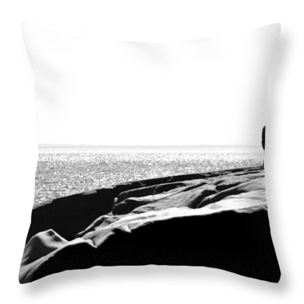 Fishers By The Sea Throw Pillow by Matthew Blum