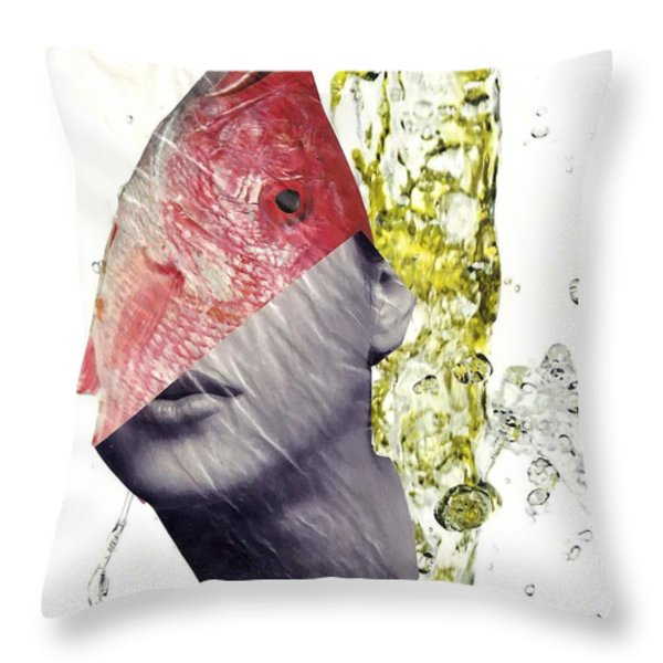 FishHead Throw Pillow by Sarah Loft