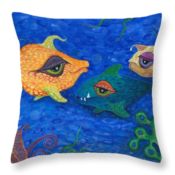 Fishin' for Smiles Throw Pillow by Tanielle Childers