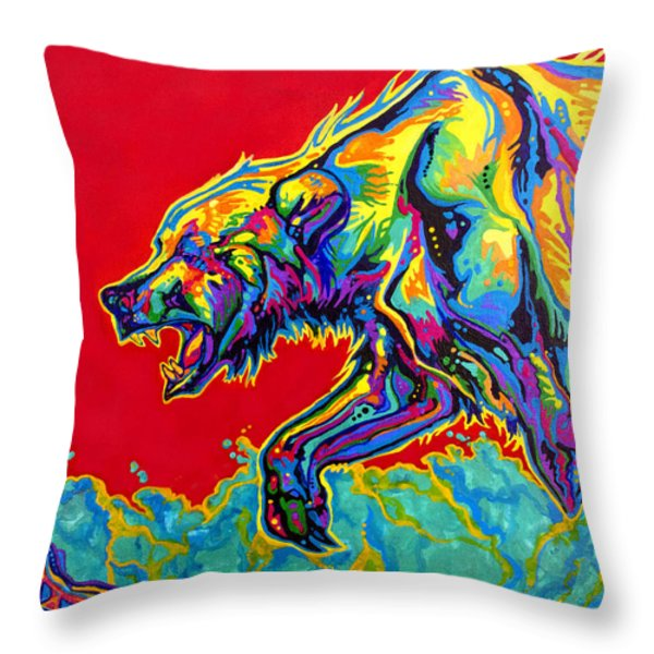 Fishing Bear Throw Pillow by Derrick Higgins