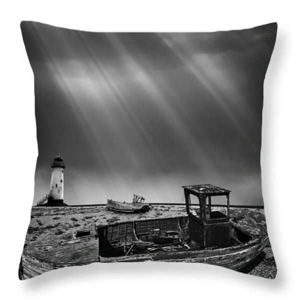 Fishing Boat Graveyard 11 Throw Pillow by Meirion Matthias
