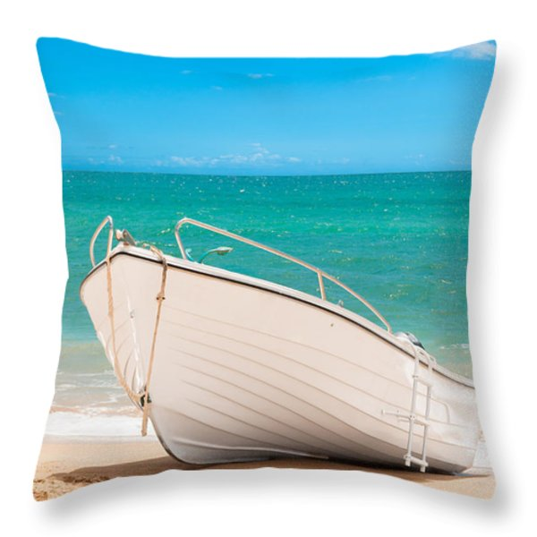 Fishing Boat On The Beach Algarve Portugal Throw Pillow by Amanda And Christopher Elwell
