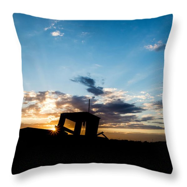 Fishing boat silhouette Throw Pillow by Matthew Gibson