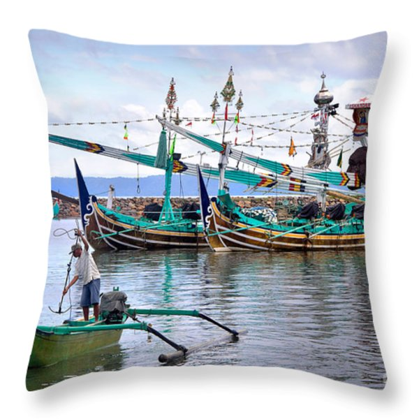Fishing Boats In Bali Throw Pillow by Louise Heusinkveld
