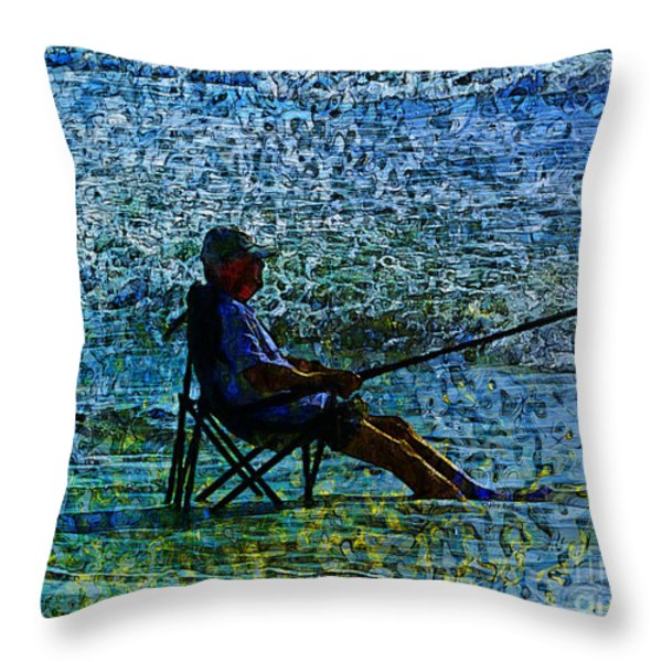 Fishing Throw Pillow by Claire Bull
