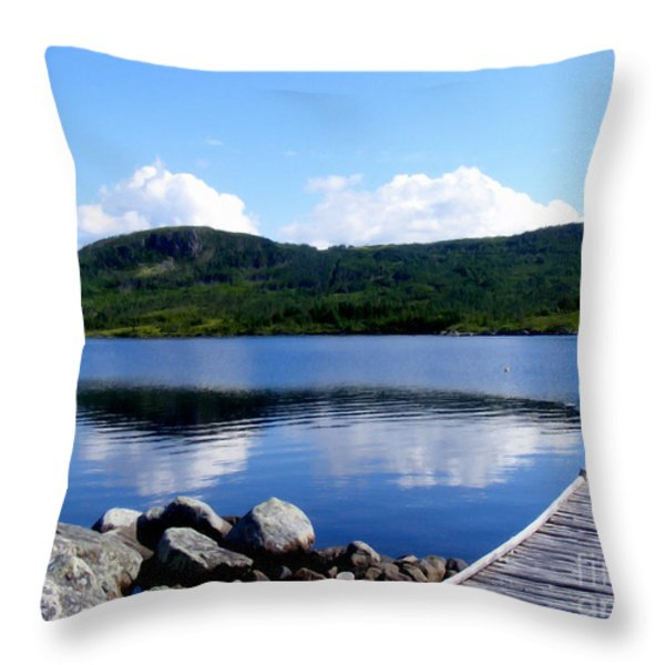 Fishing Day - Calm Waters - Digital Painting Throw Pillow by Barbara Griffin