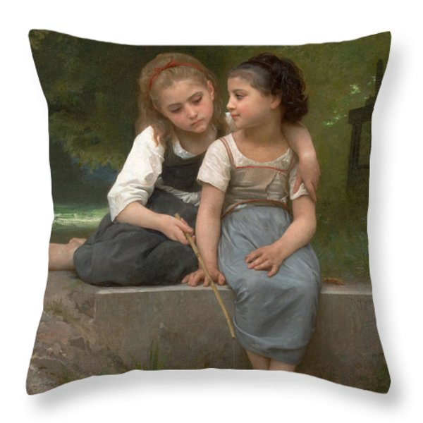 Fishing For Frogs Throw Pillow by William Bouguereau