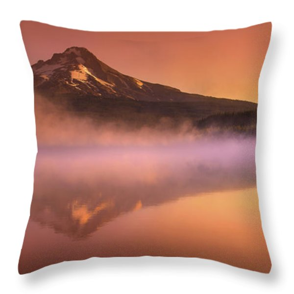 Fishing in the Fog Throw Pillow by Lori Grimmett