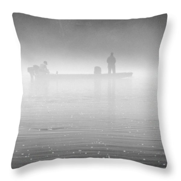 Fishing In The Fog Throw Pillow by Mike McGlothlen