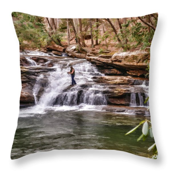 Fishing Mill Creek Falls in West Virginia Throw Pillow by Dan Friend