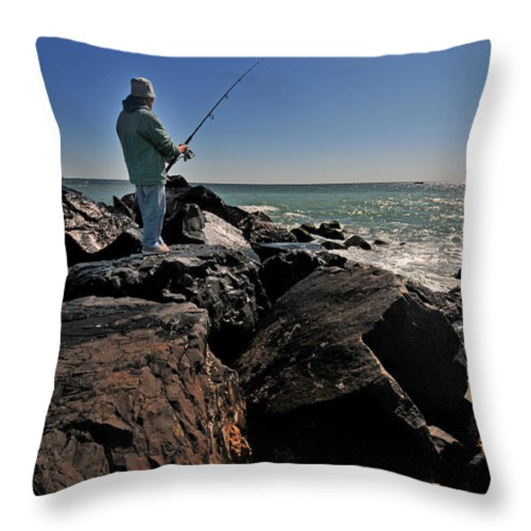 Fishing off the Jetty Throw Pillow by Paul Ward