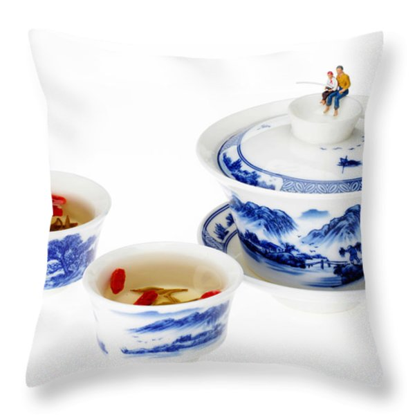 Fishing On Tea Cups Little People On Food Series Throw Pillow by Paul Ge