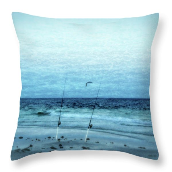 Fishing Throw Pillow by Sandy Keeton