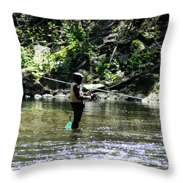 Fishing the Wissahickon Throw Pillow by Bill Cannon