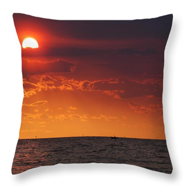 Fishing Till The Sun Goes Down Throw Pillow by Michael Thomas