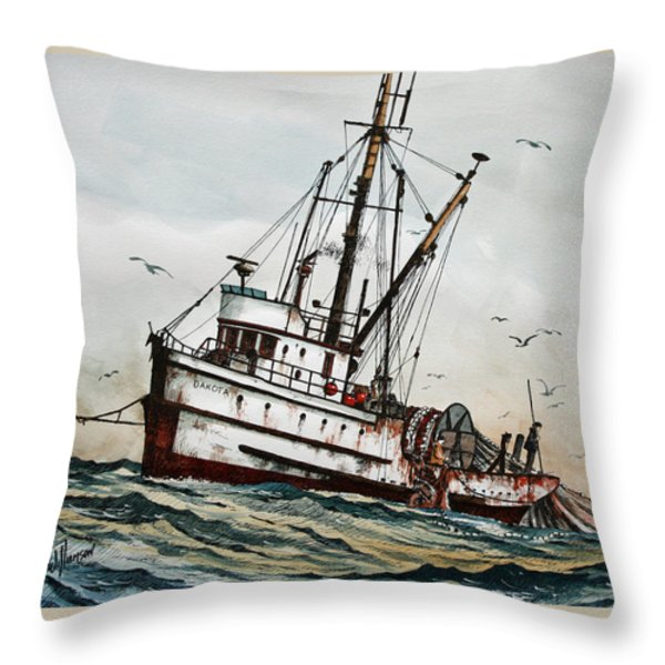Fishing Vessel Dakota Throw Pillow by James Williamson