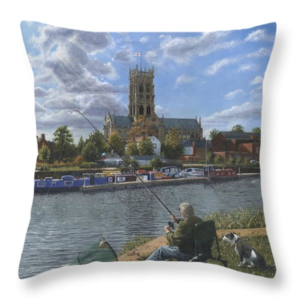 Fishing with Oscar - Doncaster Minster Throw Pillow by Richard Harpum