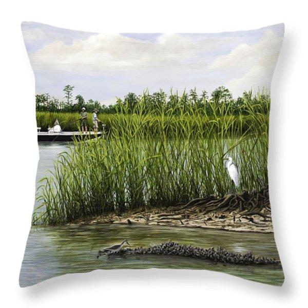 Fishingthe Buffalo Throw Pillow by Jim Ziemer