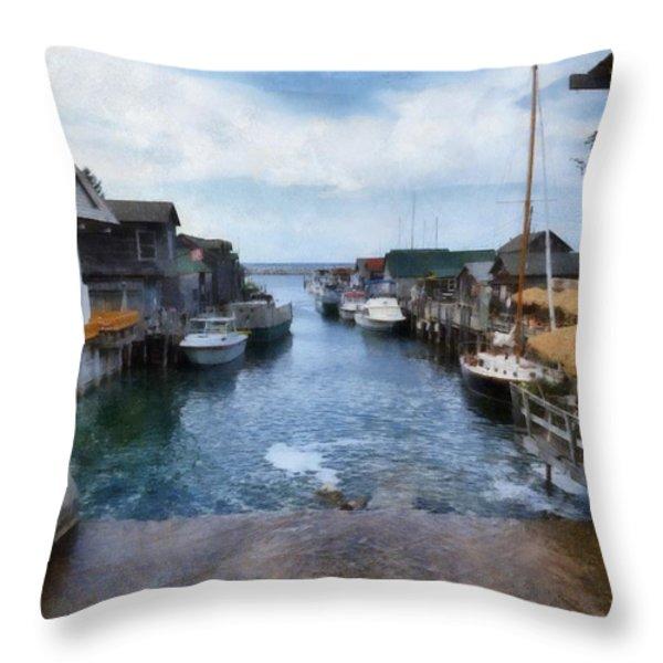 Fishtown Leland Michigan Throw Pillow by Michelle Calkins