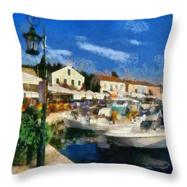 Fiskardo Town In Kefallonia Island Throw Pillow by George Atsametakis