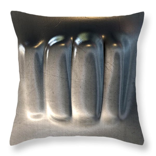 Fist Punched Metal Throw Pillow by Allan Swart