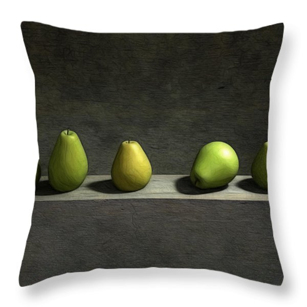 Five Pears Throw Pillow by Cynthia Decker