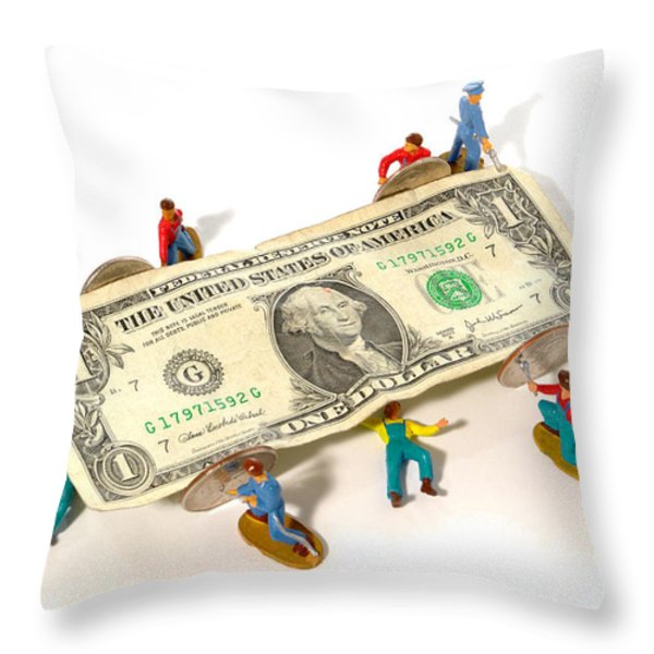 Fixing The Economy Throw Pillow by Olivier Le Queinec