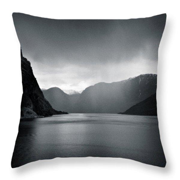 Fjord Rain Throw Pillow by Dave Bowman