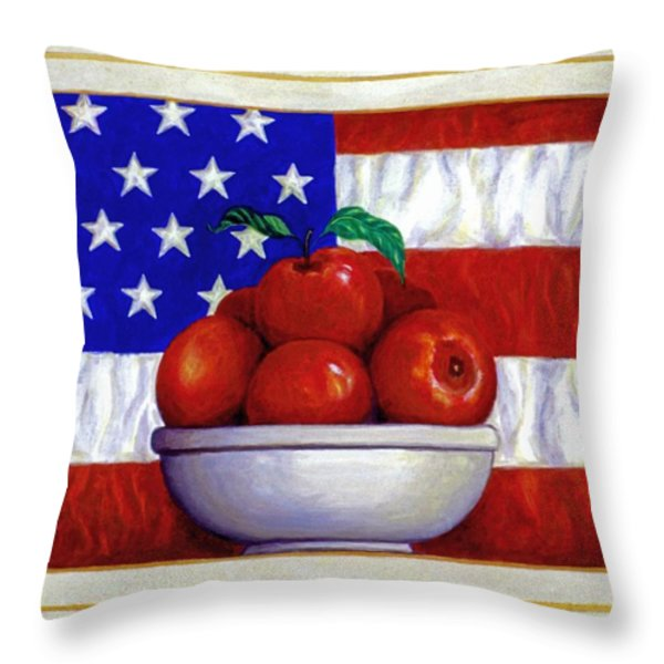 Flag and Apples Throw Pillow by Linda Mears